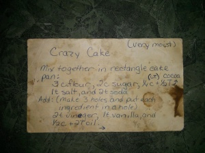 Original recipe card from high school.