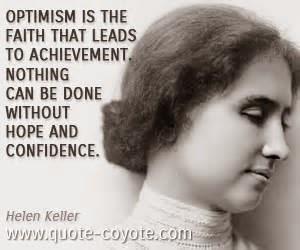 hellen keller optimism